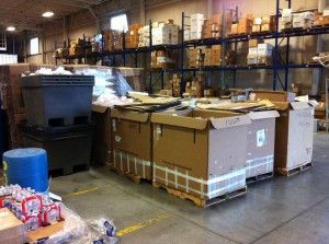 Recycling Staging for Pick Up at Visual Impressions